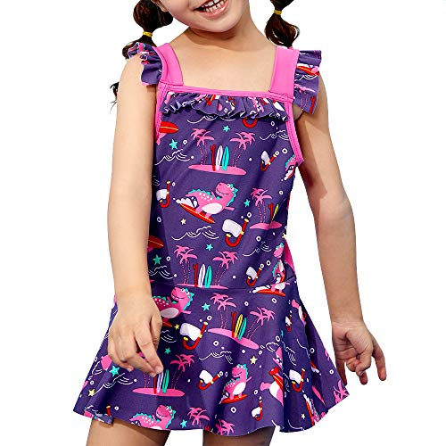 Toddler Girls Swimsuit Skirt - Kid One Piece Swimwear Baby Bathing Suit Cute Swimming Rash Guards (Purple, 6-7 T (120)) (Toddler Girls Swim Skirt)