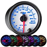 GlowShift White 7 Color 2400 F Exhaust Gas Temperature Gauge
