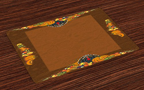 Ambesonne Thanksgiving Place Mats Set of 4, Basket