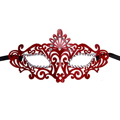 [Bigban 1 PC Fashion Mysterious Venetian Hollow Masquerade Halloween Mask (Red)] (Ancient Greek Dance Costumes)