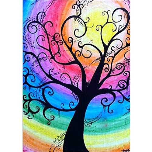 5D Diamond Painting Kit Full Drill, C-TOP DIY Rhinestone Crystal Embroidery Pictures Cross Stitch for Home Room Decoration for Adults Women Kids, Colorful Tree Pattern Art Painting 15.75X11.8