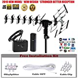 FiveStar Outdoor HD TV Antenna 2019 Newest Model Up to 200 Miles Long Range with Motorized 360 Degree Rotation, UHF/VHF/FM Radio with Infrared Remote Control Advanced Design Plus Installation Kit