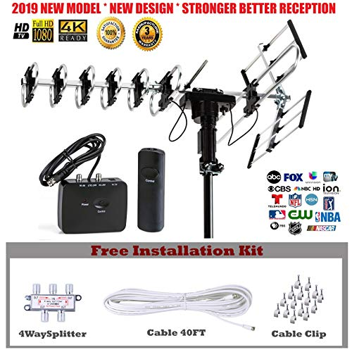 FiveStar Outdoor HD TV Antenna 2019 Newest Model Up to 200 Miles Long Range with Motorized 360 Degree Rotation, UHF/VHF/FM Radio with Infrared Remote Control Advanced Design Plus Installation Kit 4 Way Satellite Radio Splitter