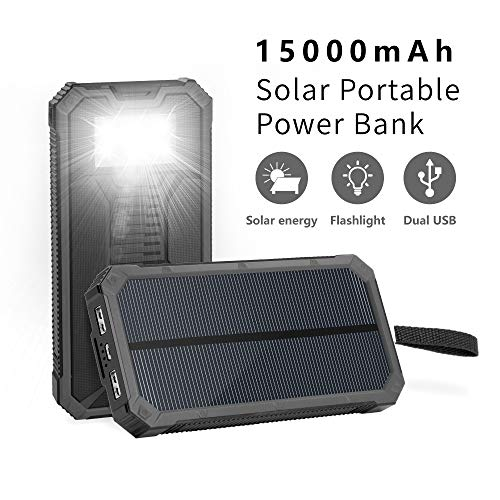 Soluser Solar Chargers 15000mAh, Portable Dual USB Solar Battery Fast Charger External Battery Pack, Solar Phone Charger Power Bank with 6LED Flashlight for Smartphones Tablet Camera