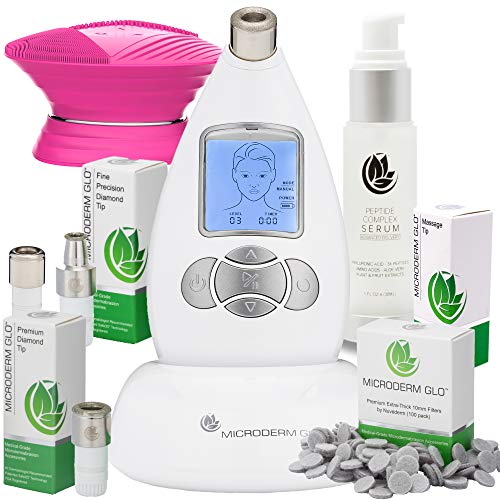 (Microderm GLO Complete Skincare Package Includes Diamond Microdermabrasion System, Premium, Fine, Massage Tips, 10mm Filters 100 pack, Peptide Complex Serum & Sonic Facial Cleansing Brush (White))