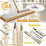 VESNIBA Double Sided Non Hand Washing Flat Mop Wooden Floor Mop Dust Push Mop Home Cleaning Tools (Khaki)