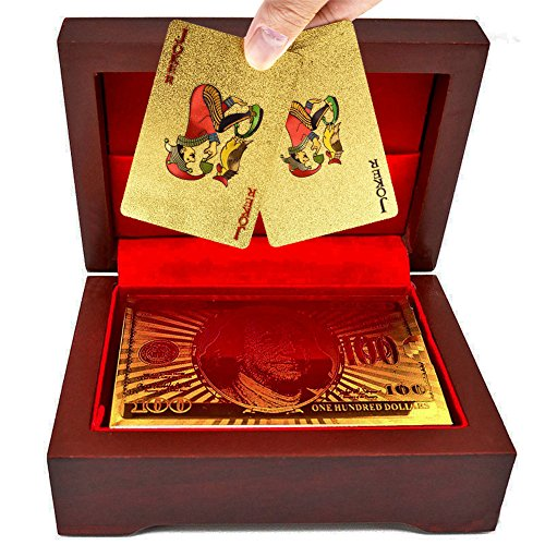 SandiaSummer 24K Gold Foil Plated Playing Cards 100 Dollar Full Poker Deck with Wood Box