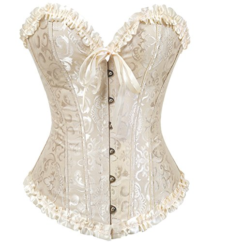 Women's Lace up Back Satin Corset Waist Cincher Bustier Top Lingerie Dress Halloween Beige 2XL -