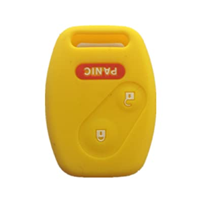 Yellow Silicone Rubber Keyless Entry Remote Key Fob Case Skin Cover Protector for Honda 2+1 Buttons: Automotive