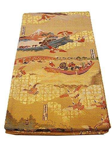 仕様明確に誓約博多着物市場 きものしらゆり 訪問着 西陣織 箔織 袋帯 金色地 富嶽三十六景 正絹 仕立上り 全通柄