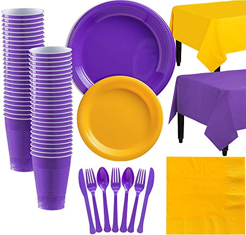 Party City Purple and Sunshine Yellow Plastic Tableware Kit for 50 Guests, 487 Pieces, Includes Plates and Table Covers - Kit Purple