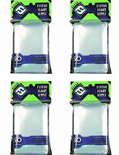 Fantasy Flight Supply - BUNDLE of 200: Clear Sleeves: Standard American Board Game (4 Packs of 50 Sleeves each)