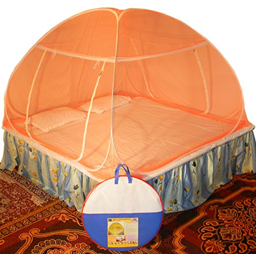 Healthy Sleeping Foldable Polyester Double Bed Mosquito Net (Orange) 2021 July Material:Polyester, Color:Orange Item Dimension: 182.49 cm x 182.49 cm x 124.99 cm Package Contents:1 Double Bed Mosquito Net