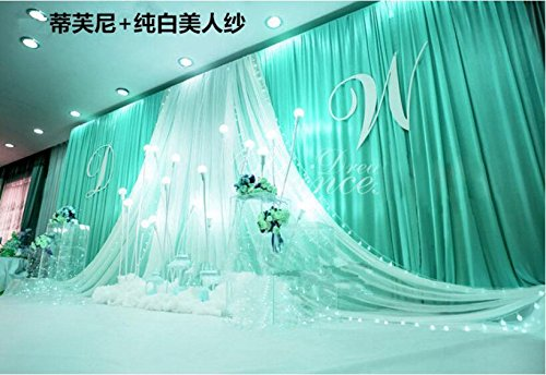 20x10ft Luxury wedding stage silk backdrop curtains with beauty yarn gauze (Tiffany Blue+white)