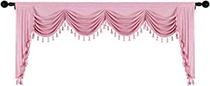 Thick Pink Chenille Window Curtains Valance for Living Room Waterfall Valance for Girl's Bedroom (W110inch, 1 Panel)