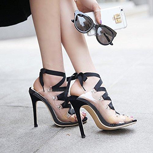 Aisun Damen Schnürung Transparent Kunststoff Stiletto Sexy Cut Schwarz Sandale Peep Out Toe rOqgrxd
