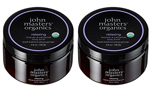 John Masters Organics Relaxing Lavender and Palmarosa Body Scrub (Pack of 2) With Lavender Oil, Palmarosa Oil, Orange Blossom Oil, Geranium Oil, Bergamot Peel Oil and Coconut Oil, 4.8 oz Each -