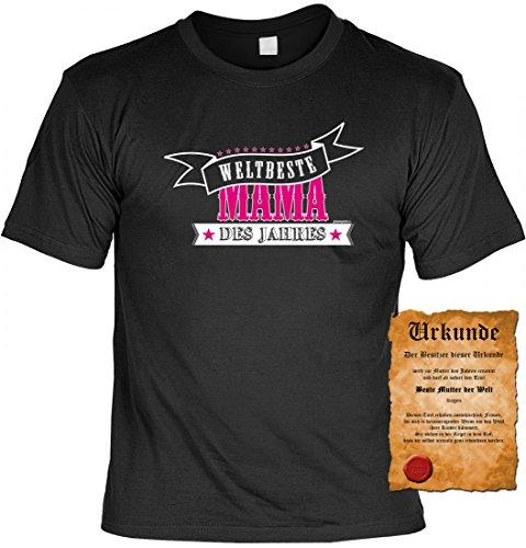 T-Shirt für die Mutter - Weltbeste Mama des Jahres - lustiges Geschenk zum Muttertag mit Gratis Urkunde als Zertifikat