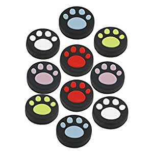 10 PCS Silicone Analog Controller Thumb Stick Grips Cap For Nintendo Switch NS Controller Joy-Con ThumbStick( Cute Cat Paw Claw)