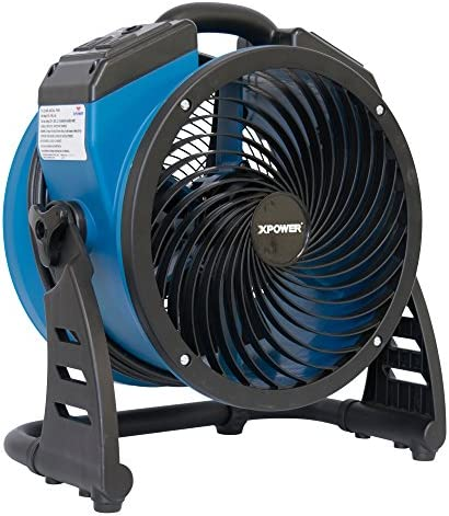 XPOWER P-21AR 11 Diameter Industrial High Velocity Axial Air Mover Carpet Dryer Floor Fan Utility Blower 1100 CFM, 0.6 Amps