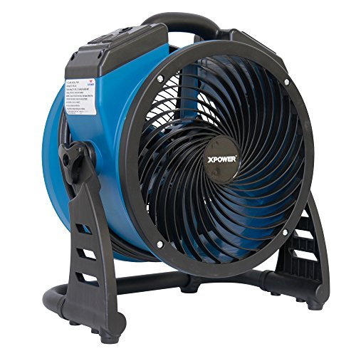 "XPOWER P-21AR 11"" Diameter Industrial High Velocity Axial Air Mover/Carpet Dryer/Floor Fan/Utility Blower 1100 CFM, 0.6 Amps"