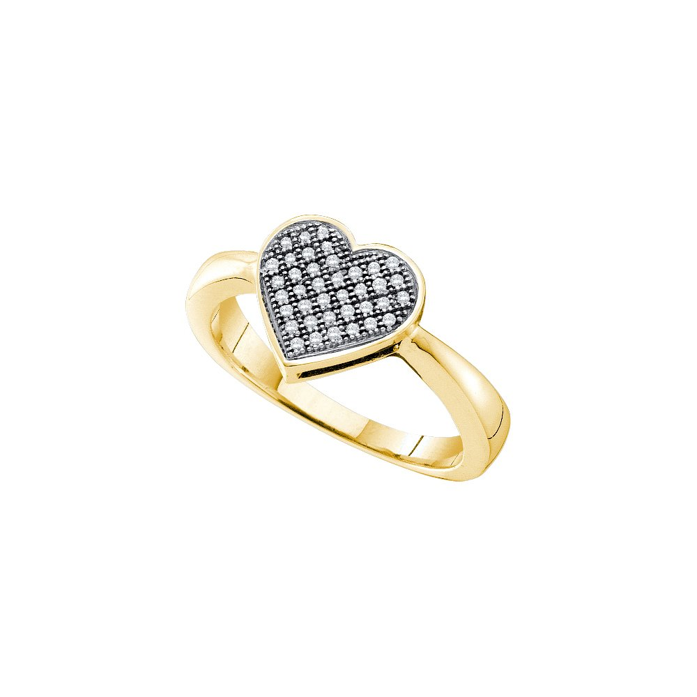 10kt Yellow Gold Womens Round Diamond Heart Love Cluster Ring 1/10 Cttw (I2-I3 clarity; J-K color)