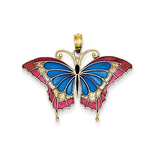 (14K Blue & Pink Enameled Butterfly Pendant)