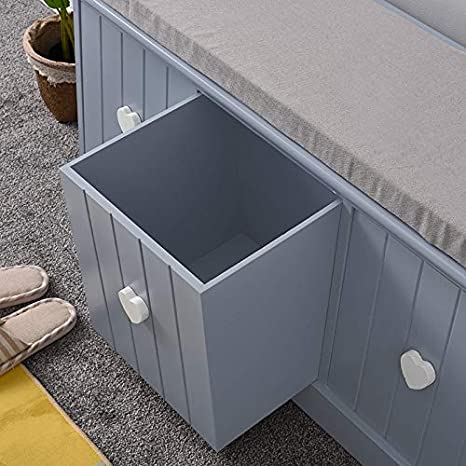 Storage Bench with 3 Drawers and Removable Seat Cushion Shoe Cabinet Units For Living Room Hallway Fully Assembled