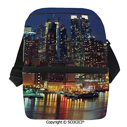 - SCOCICI Insulated Lunch Cooler Bag NYC Midtown Skyline in Evening Skyscrapers Amazing Metropolis City States Photo Reusable Lunch for Men Women Heat Insulation,Heat Protection