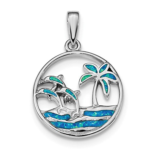 - 925 Sterling Silver Blue Created Opal Dolphins Pendant Charm Necklace Sea Life Dolphin Fine Jewelry Gifts For Women For Her