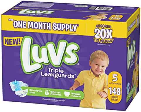 Luvs Ultra Leakguards Disposable Baby Diapers, Size 5, 148Count, ONE MONTH SUPPLY (Packaging May Vary)