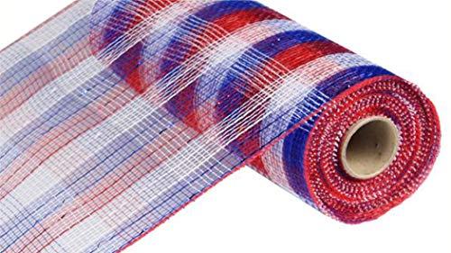 10 Inch x 30 Feet Deco Poly Mesh Ribbon - Metallic Check Red White Blue : RE1370EX