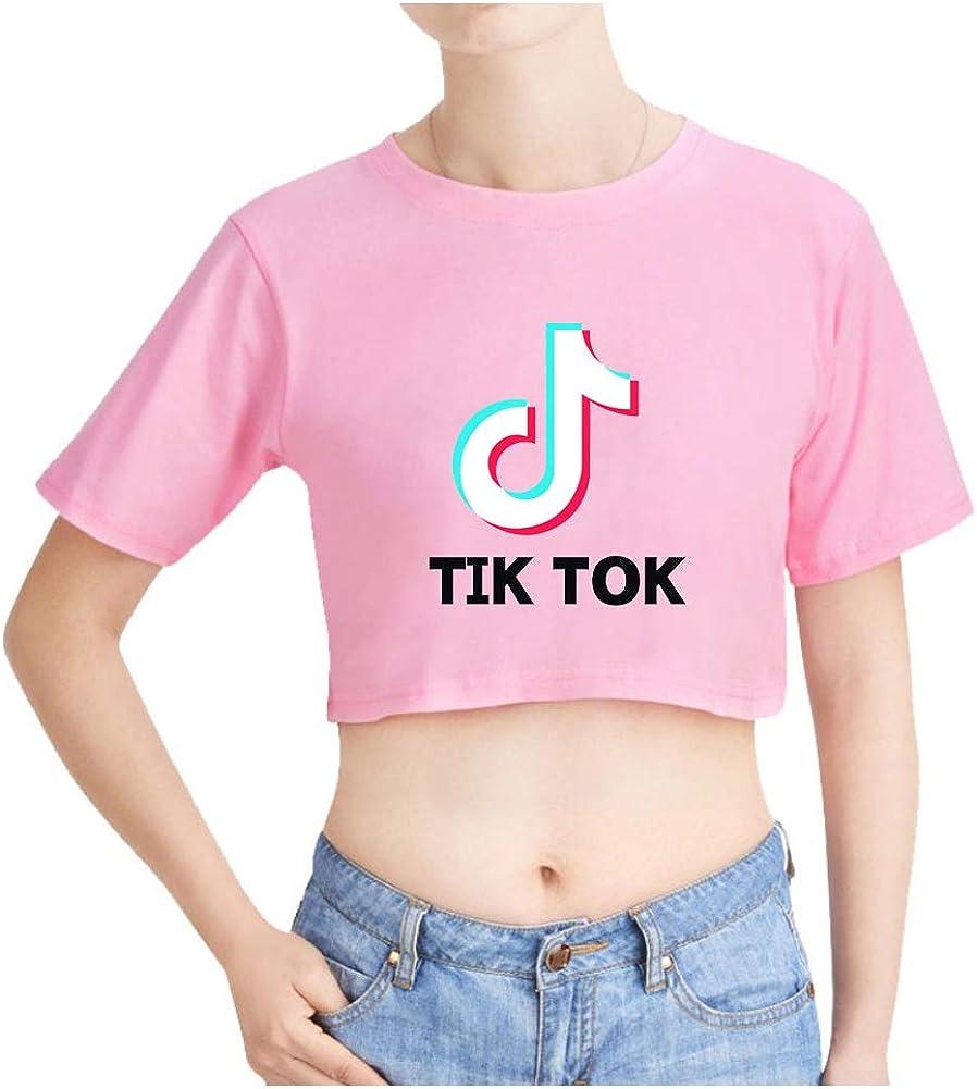 TIK Tok Crop Top Mujer Verano Camiseta Manga Corta Basica T Shirt Camisa Corta Niña Sueter Jersey Blusa Cuello Redondo Pullover Hip Hop Jumper Tunica Top Solid Sweatshirt Moda C00605TX135L: Amazon.es: Ropa