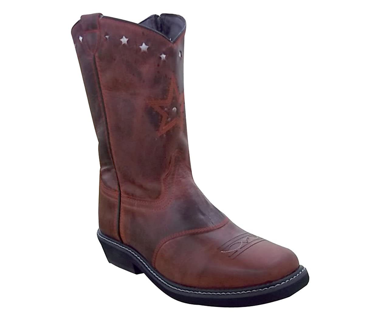 Smoky Mountain BOOTS-3477Y Sundown Side Zip Square Toe-RED Leather