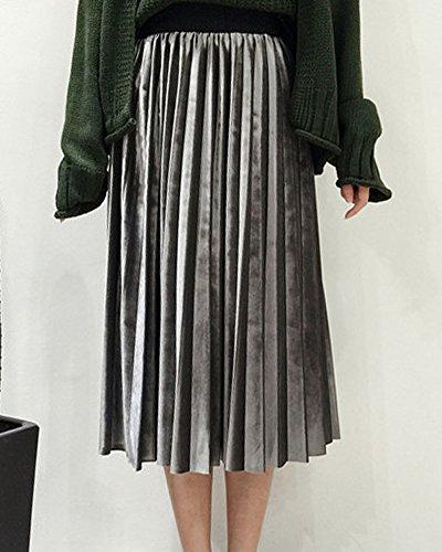 Mi Velours Midi Plisse Taille Jupe Femme Vintage Longue Evase Jupe Gris Haute xA7YqqIz