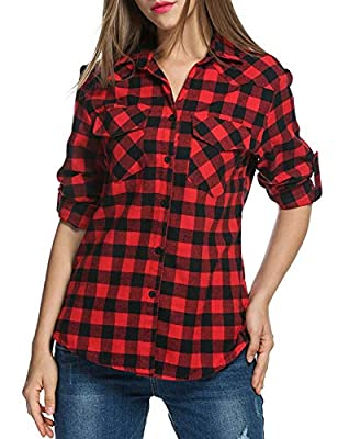 Genhoo Women's Roll up Long Sleeve Plaid Collared Button Down Boyfriend Casual Flannel Shirt Top