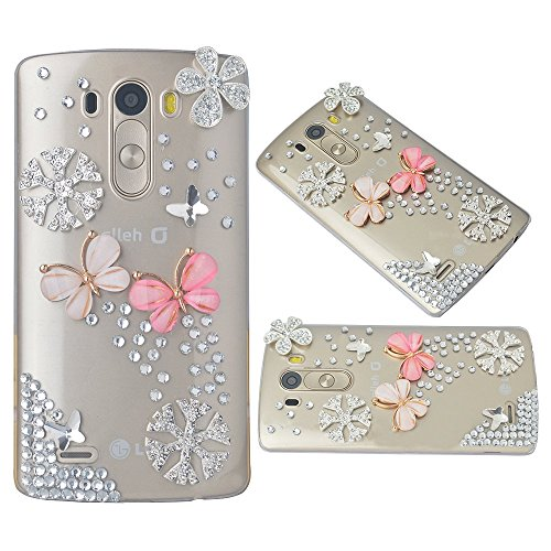 Spritech(TM) Bling Phone Case For LG G3 mini,3D Handmade Crystal Pink Flower Butterfly Accessary Design Clear Cellphone Cover