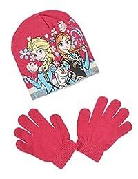 Disney Frozen Girls Winter Wear set of Bonnet and Gloves (52 cm, 2-4 Years, Fuschia)