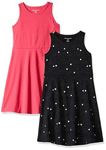 - Amazon Essentials Toddler Girls' 2-Pack Tank Dress, Floral/Raspberry, 2T