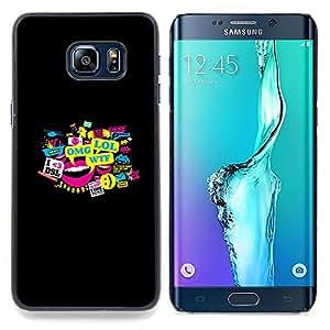 "Qstar Arte & diseño plástico duro Fundas Cover Cubre Hard Case Cover para Samsung Galaxy S6 Edge Plus / S6 Edge+ G928 (Tipografía Meme - Lol Omg Wtf Dsl"")"