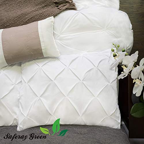 (White Pinch Pleated / Pintuck Pillow Shams Set of 2pc - Luxury 850-TC 100% Organic Cotton Cushion Cover Euro Size Decorative Small 22x22 Pillow Cover Tailored Poplin European Solid Pillow Sham)