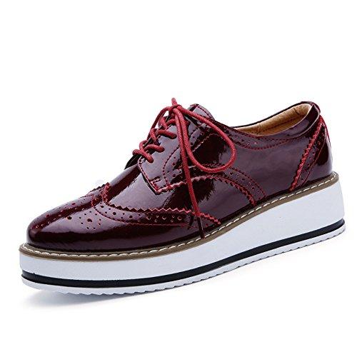 Blanco Rojo Negro CM 5 Cordones 4 Talón Plataforma Vino Zapatos de Mujer Brogue para Vestir aZPnnqw76A