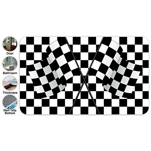 YRBZ Non-slip Area Rugs Home Decor,Stylish Black & White Racing Checkered Flag Floor Mat Living Room Bedroom Carpets Doormats 18 X 30 inches