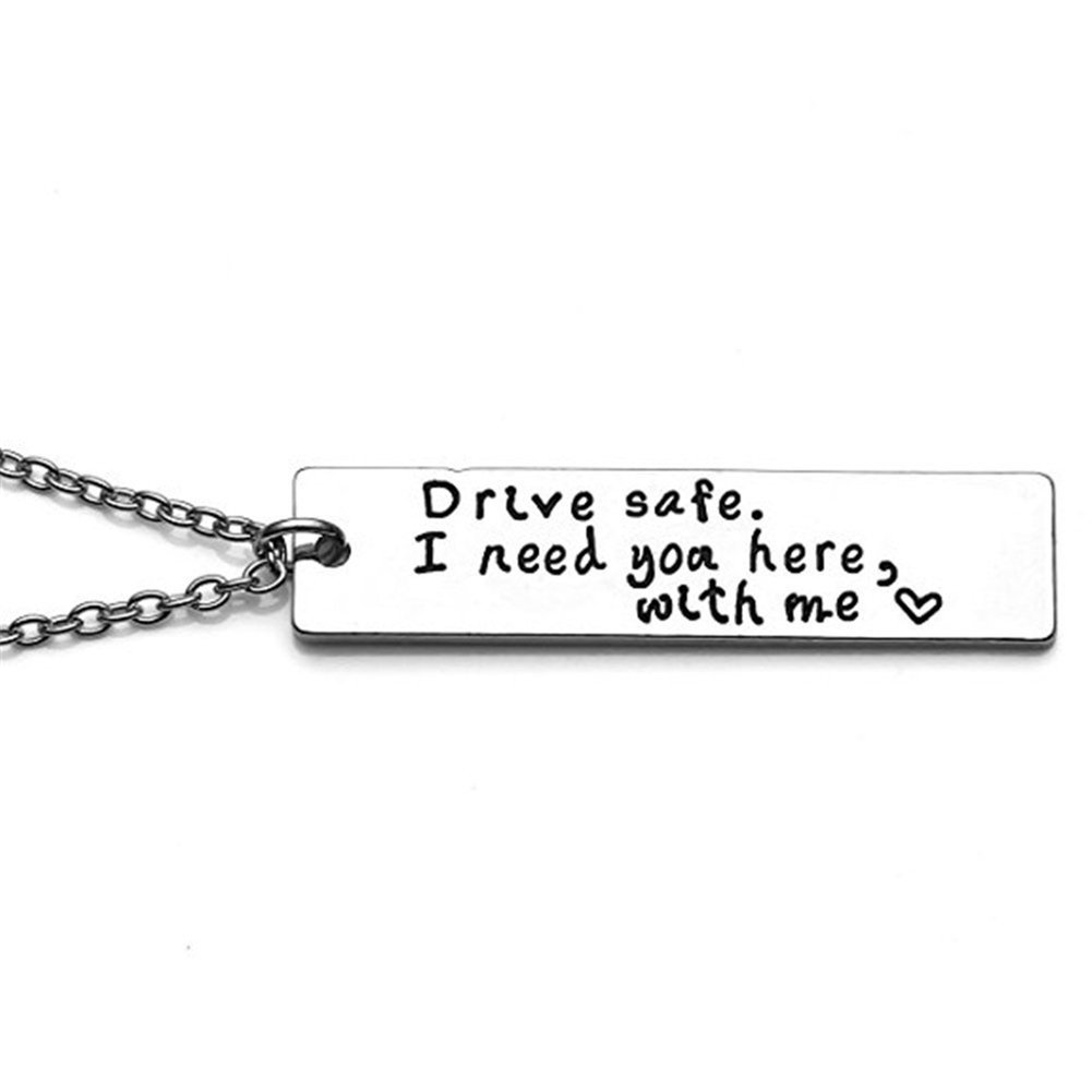 Bangle009 Drive Safe Letters Tag Pendant Necklace Car Keychain Key Ring Couple Lover Gift