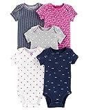 Carter's Baby Girls 5 Pack Bodysuit Set, Hi Love, Newborn