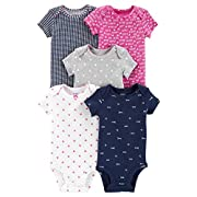Carter's Baby Girls 5 Pack Bodysuit Set, Hi Love, 12 Months