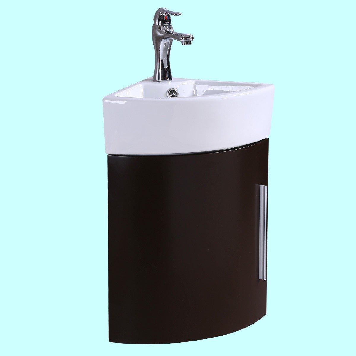 Corner Wall Mount Bathroom Vanity Sink White With Dark Oak Vanity ...