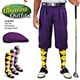 Mens Golf Knicker Outfit - Purple Golf Knickers, Golf Cap, 3 Argyle Socks - Waist 26