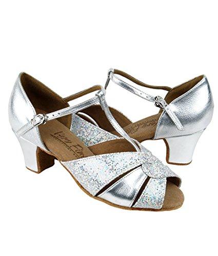 Scarpe Da Ballo Latino Ballo Tango Latino Molto Fine Per Le Donne C6006 Tacco 1,6 Pollici + Pacchetto Pieghevole Pennello Argento Pelle-argento Scala