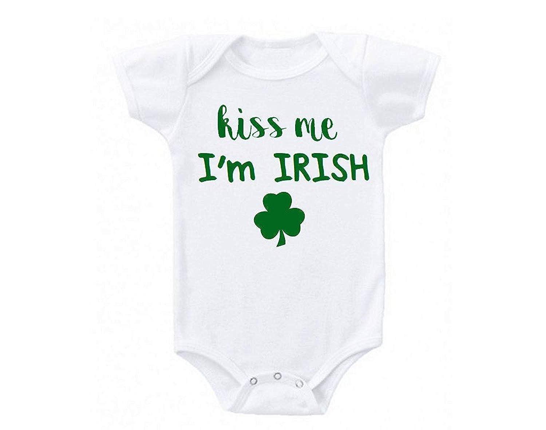 Kiss Me Im Irish Green Clover ST Patricks Day One-Piece Baby Bodysuit